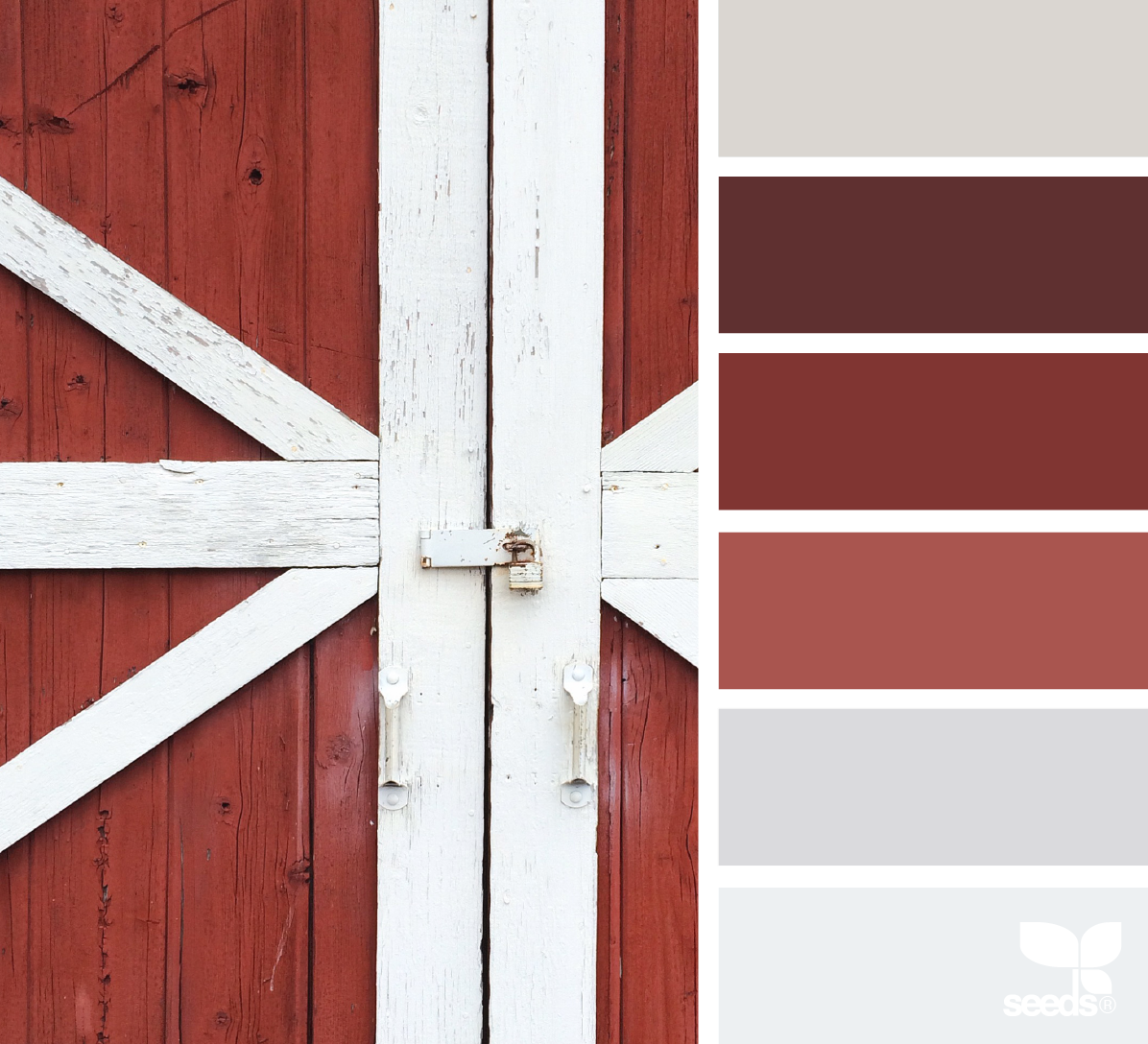 { a door hues } image via: @suertj | design-seeds (taupe, brown, red, mauve, gray / grey, barn door)