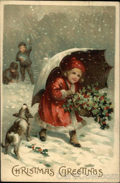 Christmas Greetings Children #vintage #postcard #postcards #printable #ephemera #Christmas #children #girl #boy #children #umbrella #snow