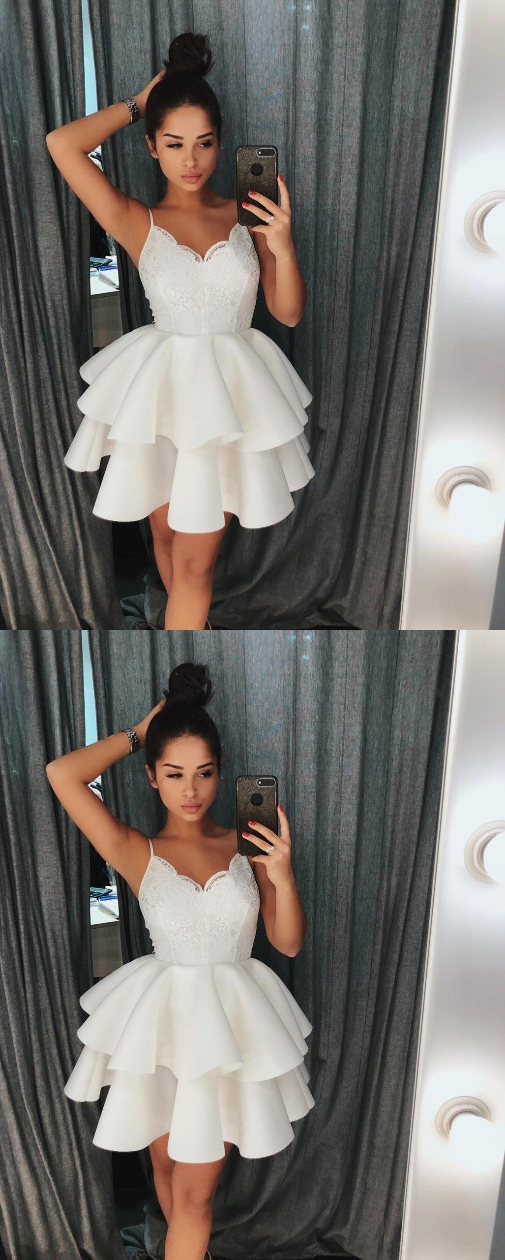 01fc2c48048a Cute White Spaghetti Straps Homecoming Dress with Lace Top,Ruffles Short  Prom Dress