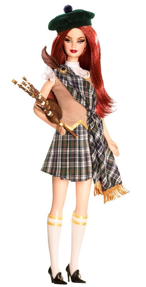"""SCOTLAND Barbie (2009) looks strikingly sweet in a darling plaid pleated skirt, matching sash, tan vest, and lacy white top. White knee-high socks, black Mary Janes, and a green beret complete the look. In true Scottish tradition, a set of """"bagpipes"""" accompany the doll."""