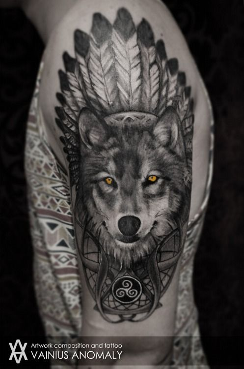 Wolf Tattoo Tumblri Love The Colored Eyes Against The Black And