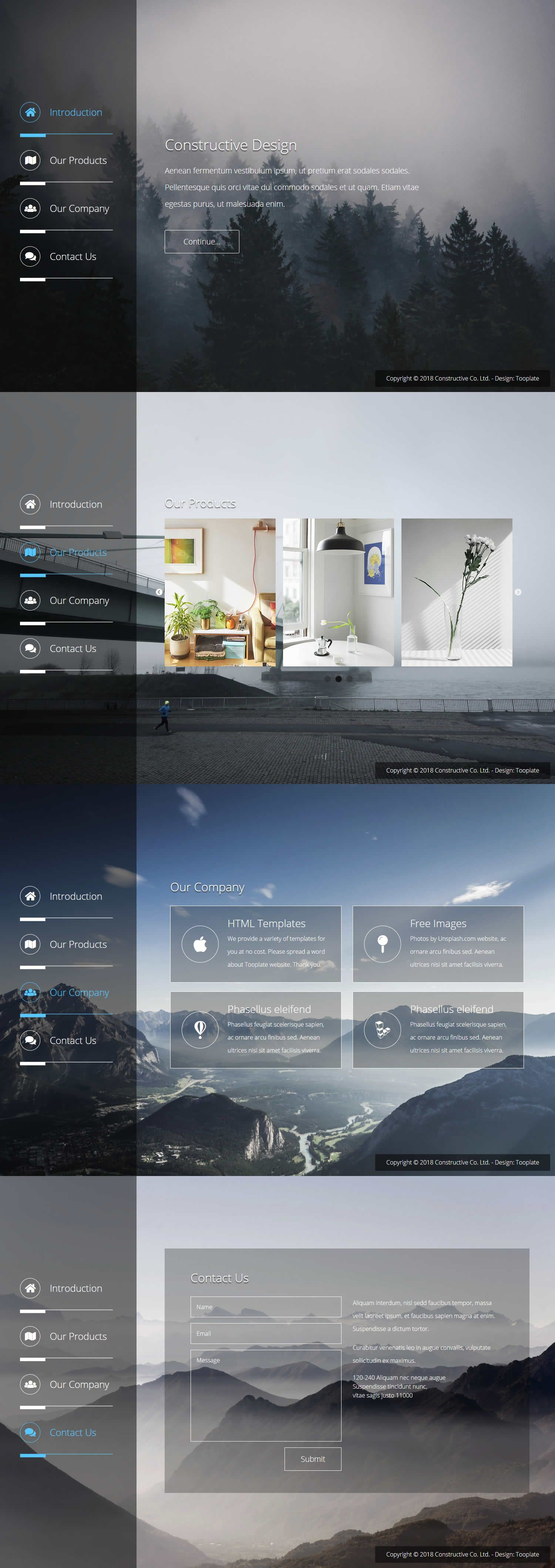 Constructive Html Template 2 Column Layout Main Menu On