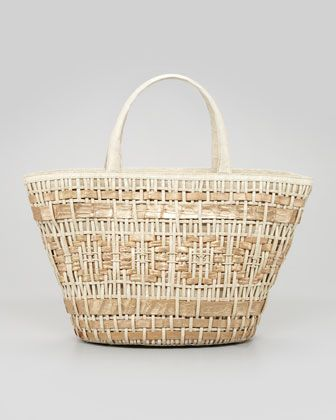 Small Woven Crocodile Tote Bag, White/Champagne by Nancy Gonzalez at Neiman Marcus.