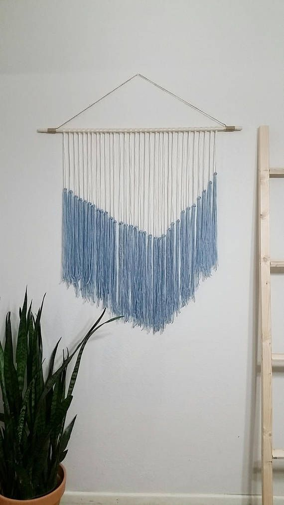 Yarn Tapestry Blue and Ivory This tapestry makes a great wall decor ...
