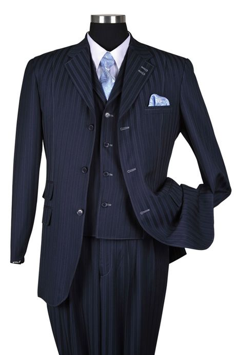 Milano Moda Navy Tone on Tone Stripe Vested Urban Men Suits 5267V