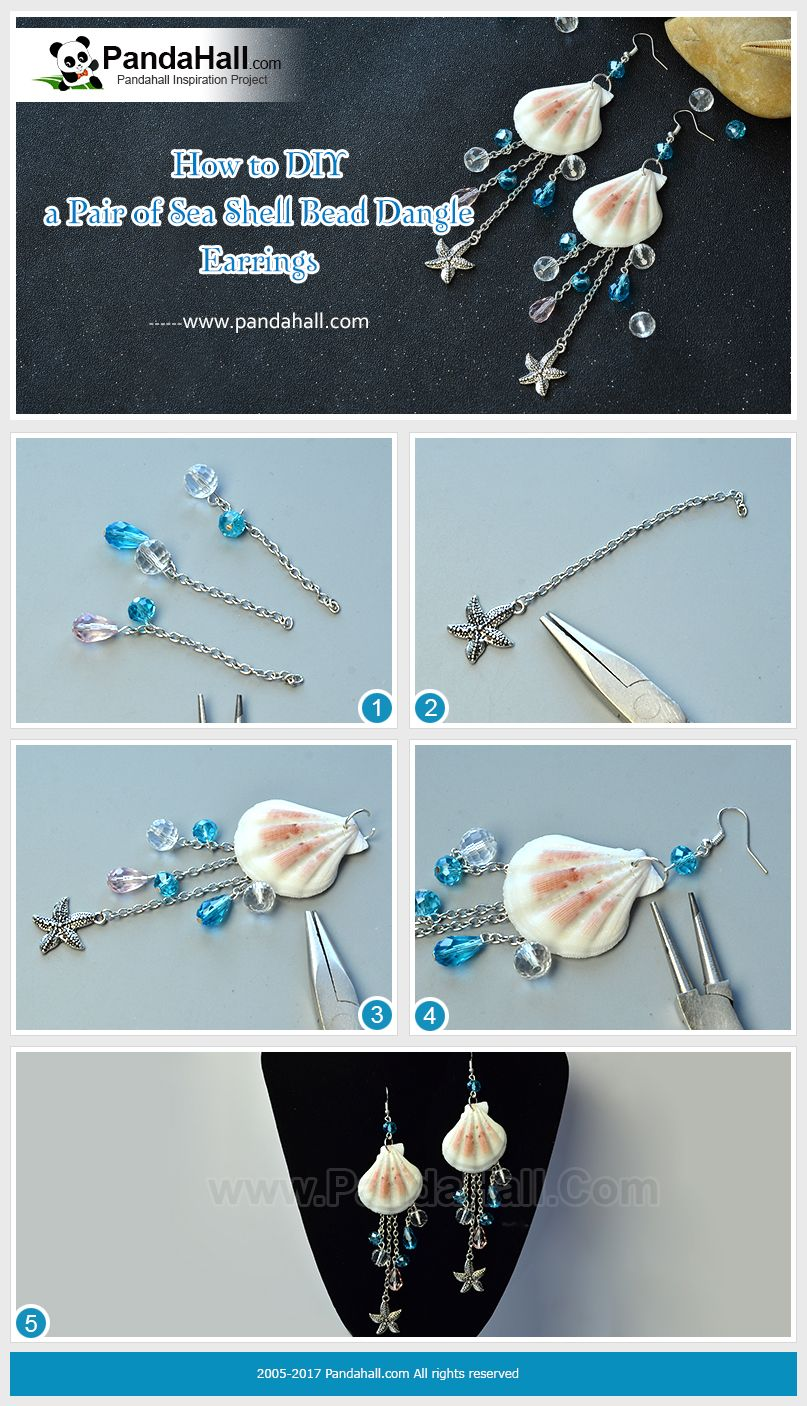 How To Make Sea Shell Bead Dangle Earrings By Making Glass Beads