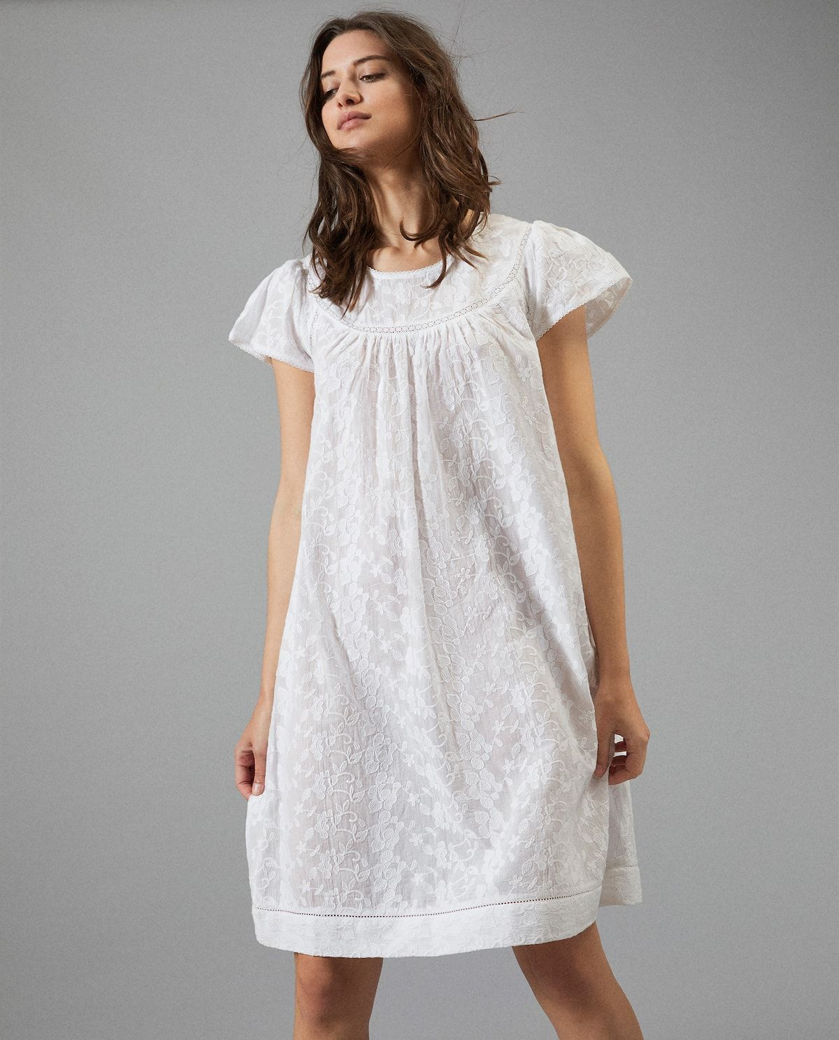 c369aa4189 Image  0  of the product 1 EMBROIDERED COTTON NIGHTDRESS