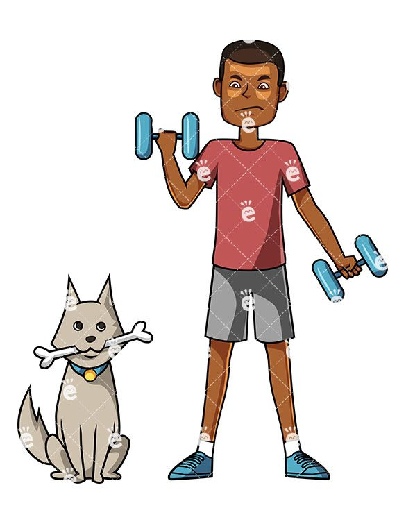 A Black Man Working Out With Barbells As His Dog Waits Patiently
