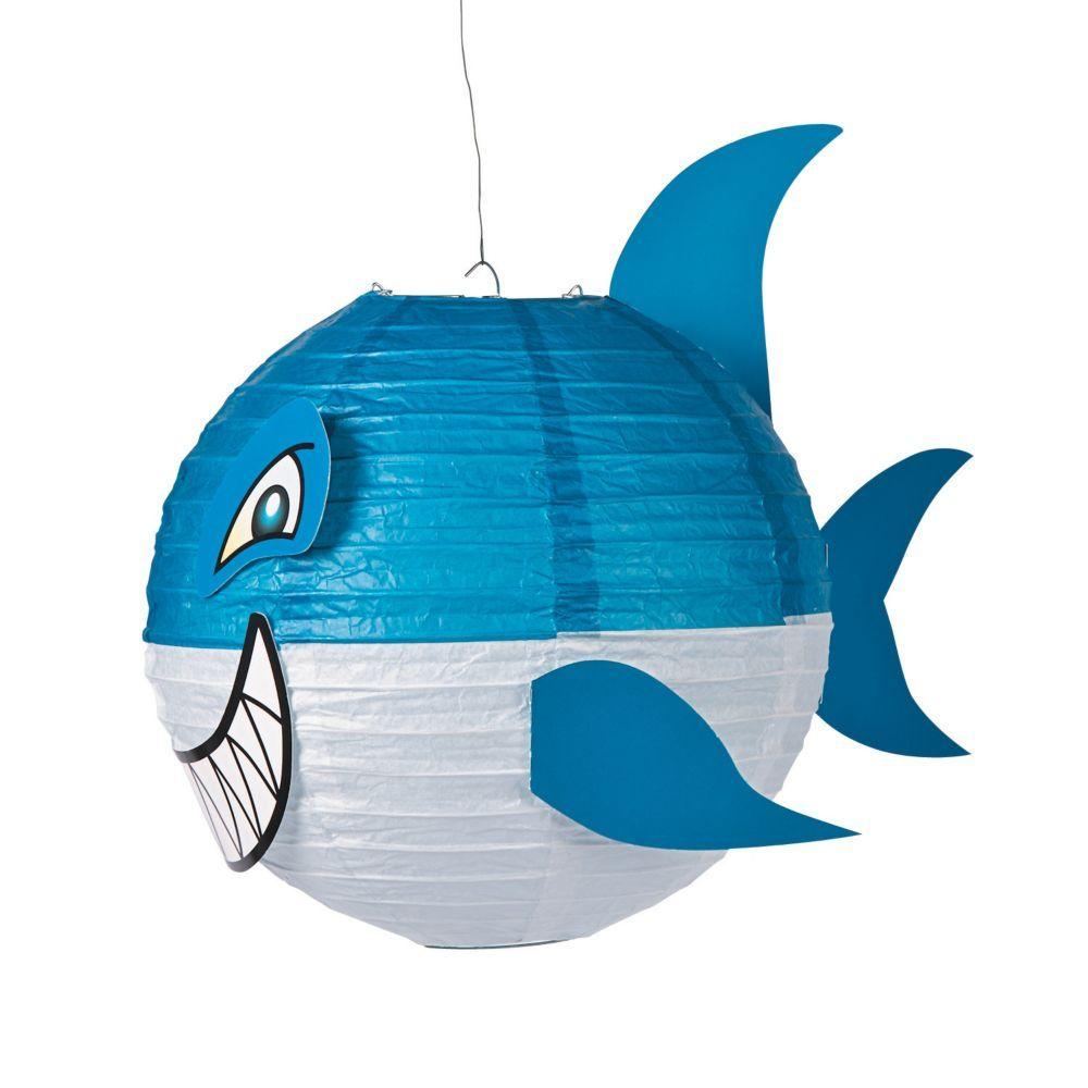 Jawsome Shark Paper Lanterns Blue Shark party