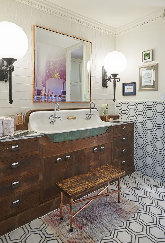 Bathroom Makeovers Modern Take On 1920 S Bathroom Domino Kids Bathroom Makeover Eclectic Bathroom Bathroom Makeover