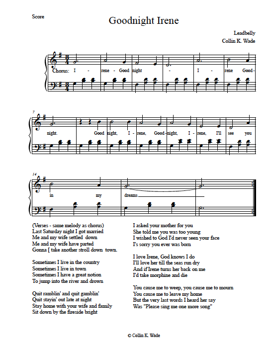 Free Sheet Music Goodnight Irene Pianos Pinterest Free Sheet