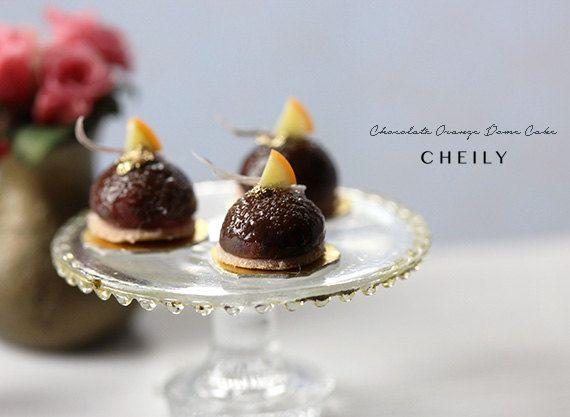 Yummmmmm! Dollhouse miniature food Chocolate Orange Dome by PetitDeCherries