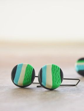 Colorful striped earrings fun modern polymer by debroervandevogel
