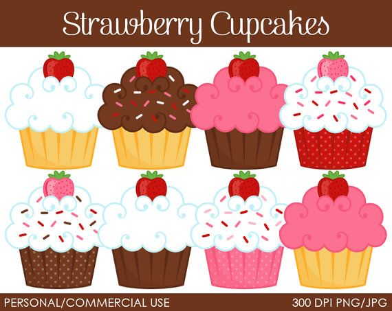 Strawberry Cupcakes Clipart - Digital Clip Art Graphics for Personal or…