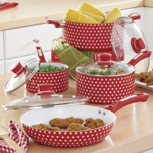 Kitchen Accessories Brands: Ginnys Brand 8-Piece Nonstick Ceramic Polka Dot Cookware