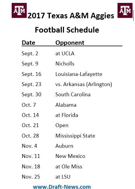 2017 Texas A M Aggies Football Printable Schedule Kansas State Wildcats Football Tennessee Football Football
