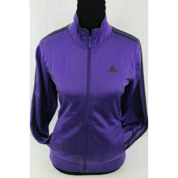 6e154ea39ac3 Adidas Classic 3 Stripe Zip Front Track Jacket Classic 3 stripe jacket from  Adidas. Purple with black stripes and logo. Never worn. Like new.