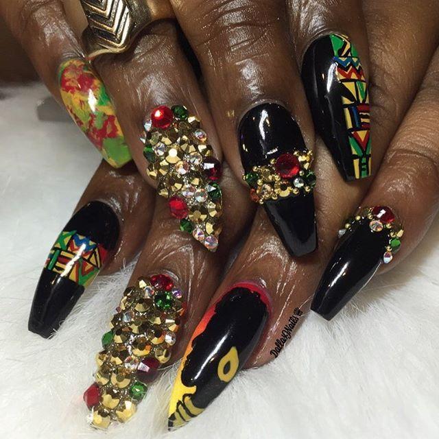 African gal ❤ #dallasjnails #nailart #stlnails #swarvoskinails  #blackgirlnails Bad Nails - African Gal ❤ #dallasjnails #nailart #stlnails #swarvoskinails