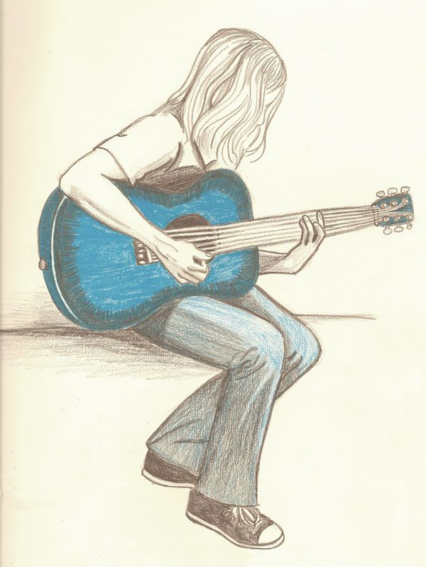 Guitar With Images Girl Drawing Sketches Music Drawings