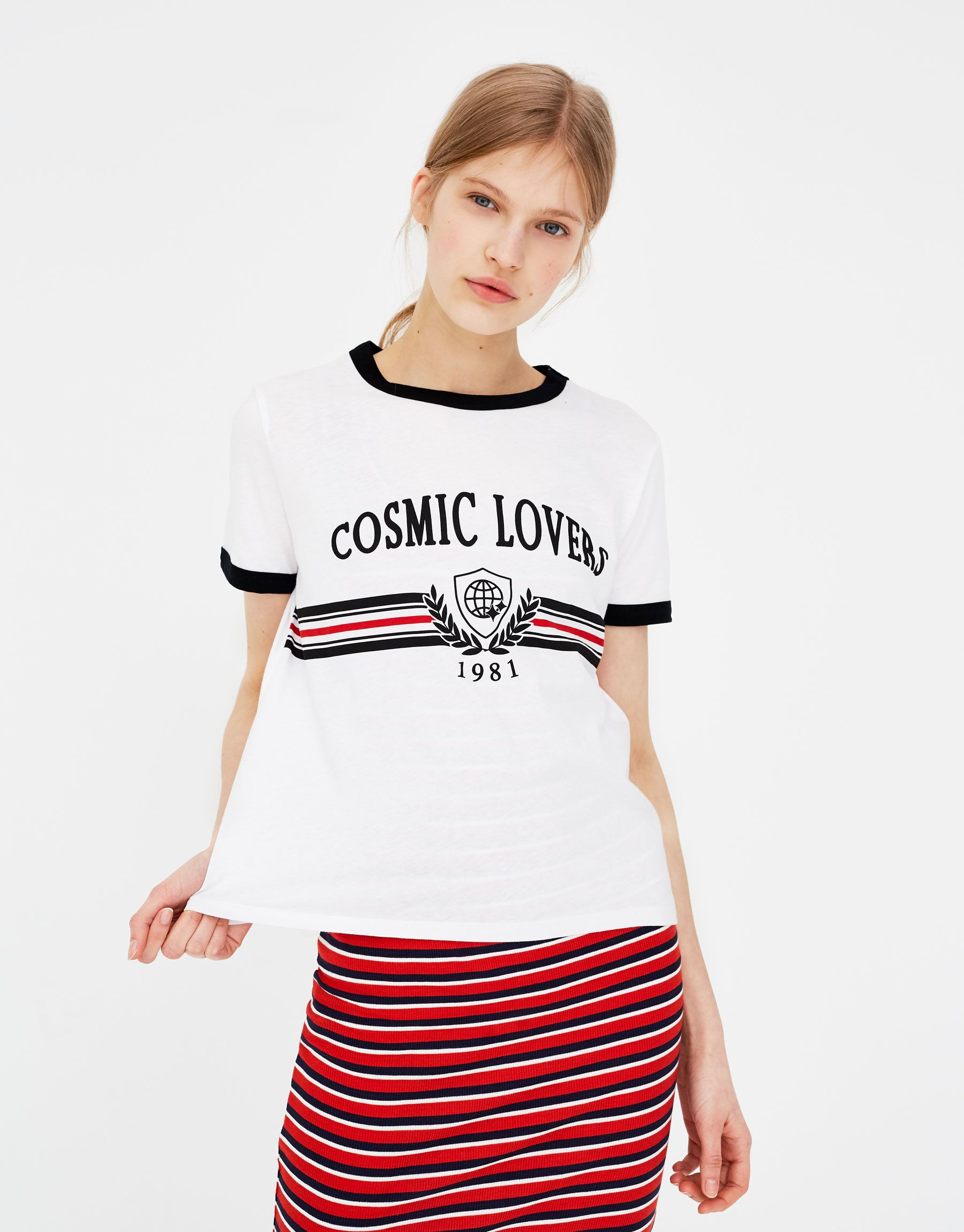 56dd336a04b16 Pull Bear - woman - clothing - t-shirts -  cosmic lovers  slogan t-shirt -  white - 05230329-V2018