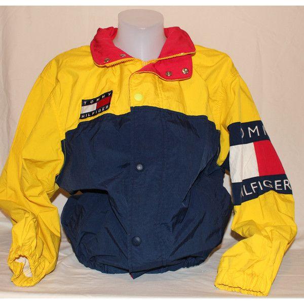 1116408b Vintage Tommy Hilfiger Windbreaker Jacket Lightweight Coat Hip Hop... ($50)  ❤ liked on Polyvore featuring outerwear, coats, windbreaker jacket, ...