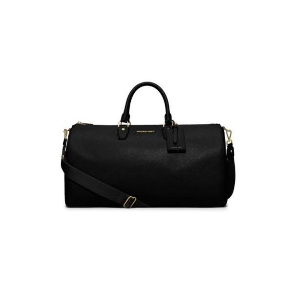 Michael Kors Jet Set Large Leather Weekender, Black ($398) ❤ liked on Polyvore featuring bags and luggage