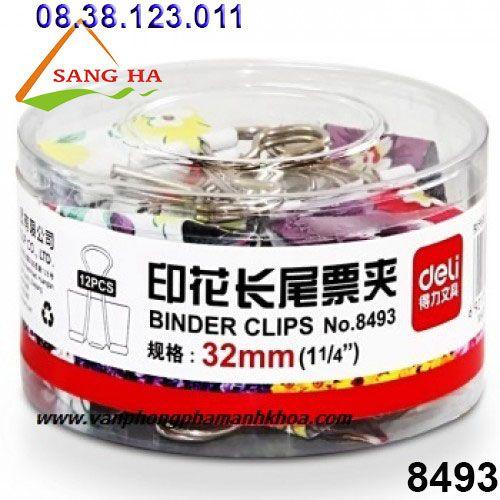 Sang Hà Văn phòng phẩm giá sỉ - Kẹp bướm màu hoa 32mm Deli - 8493