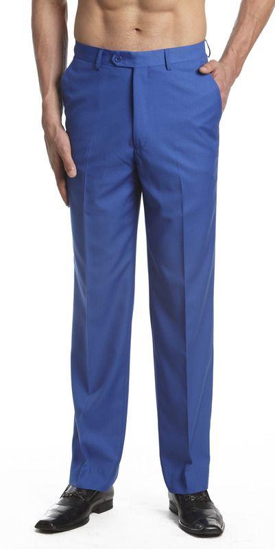 CONCITOR Men/'s Dress Pants Trousers Flat Front Slacks Solid ROYAL BLUE Color