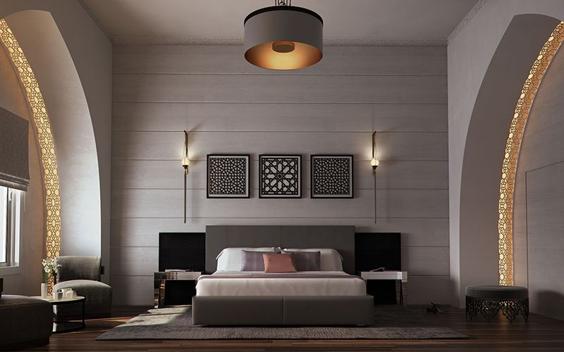 How to do a modern islamic hotel interior design islamic wall