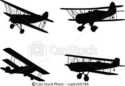 Vector Vintage Airplanes Stock Illustration Royalty Free