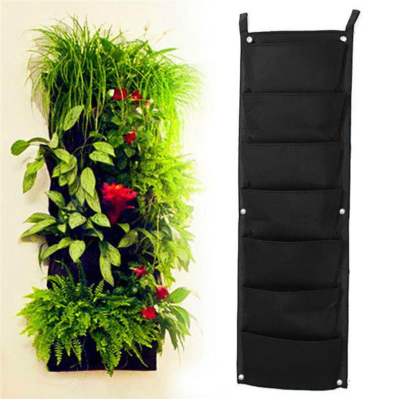 7 Pocket Indoor Outdoor Hanging Vertical Garden Flower Plant Planter Bags  Pocket Black On Wall
