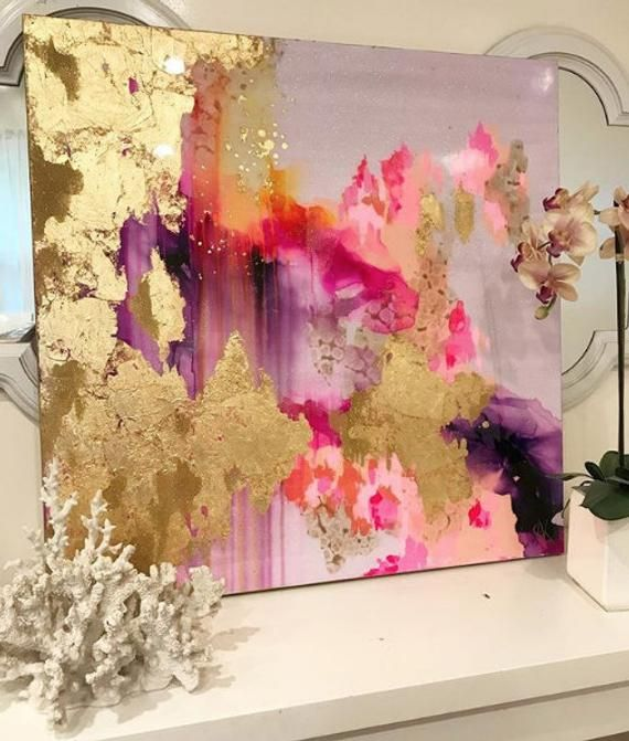 """Sold! Original Large Abstract Art Painting Large Canvas Pink, Purple, Gold, Pastel, Ombre Glitter 36"""" x 36"""" Large Real Gold Leaf Resin Coat"""