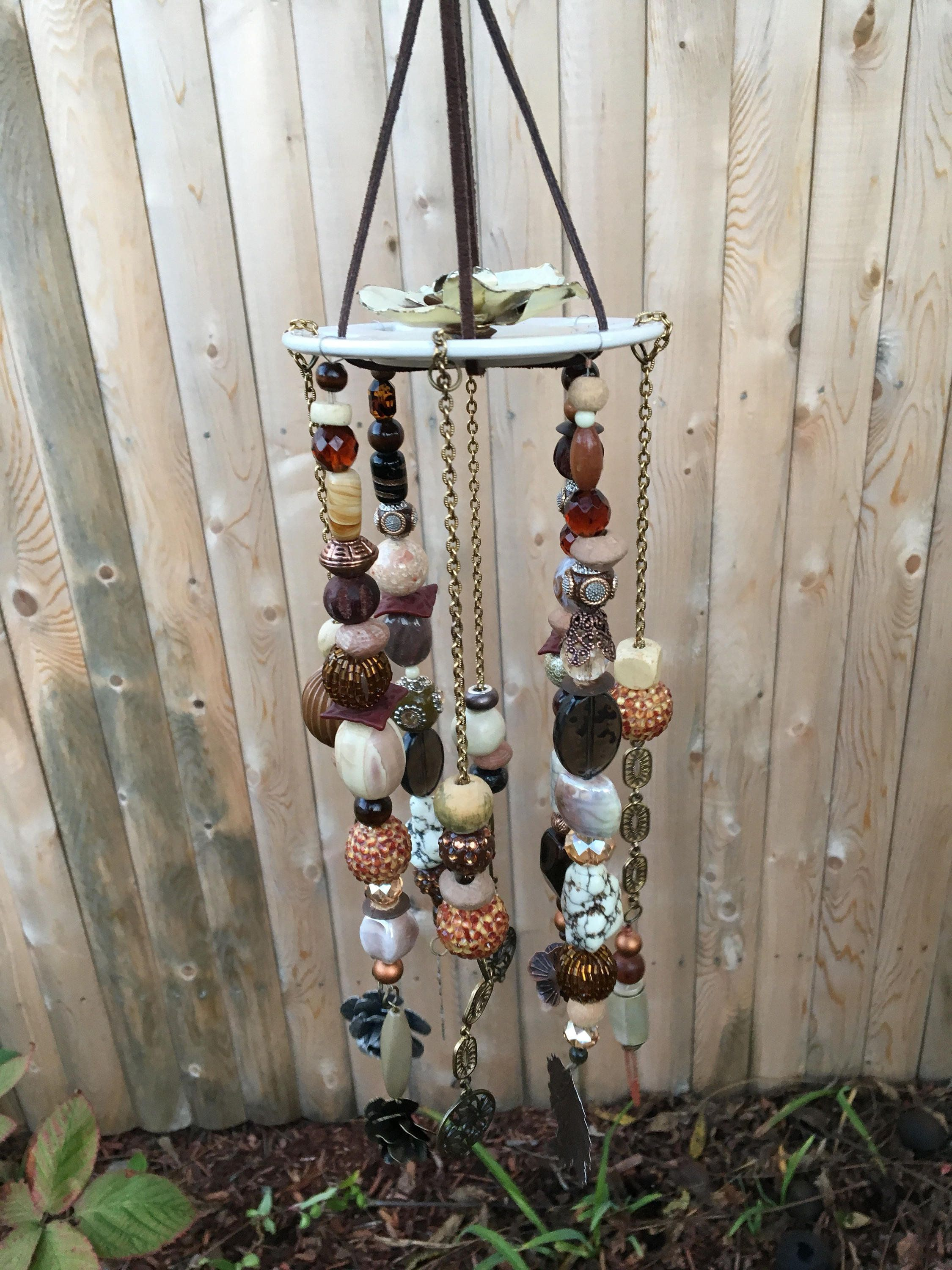 Brown Ivory Mobile Art Upcycled Bead Wind Chimes Boho Home Decor Hanging Garden Decor Outside Sun Catcher Window Wind Chimes Hanging Mobile Hanging Garden
