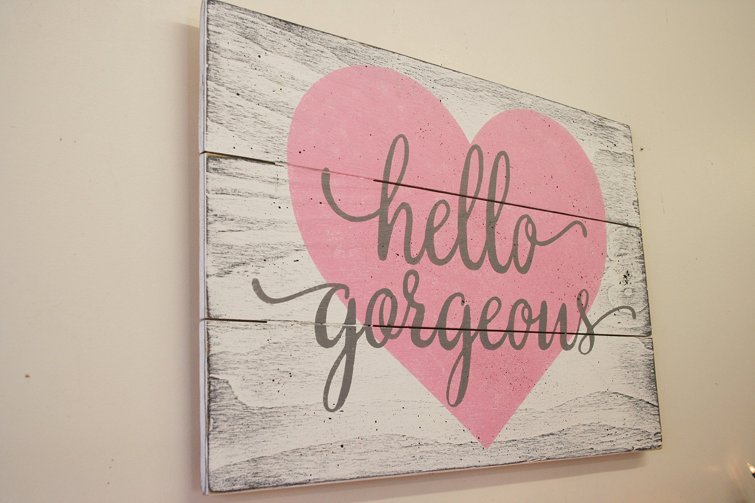 Shabby Chic Wall Decor Hello Gorgeous Wood Sign Girls Nursery Wall Decor Wall Art Shabby
