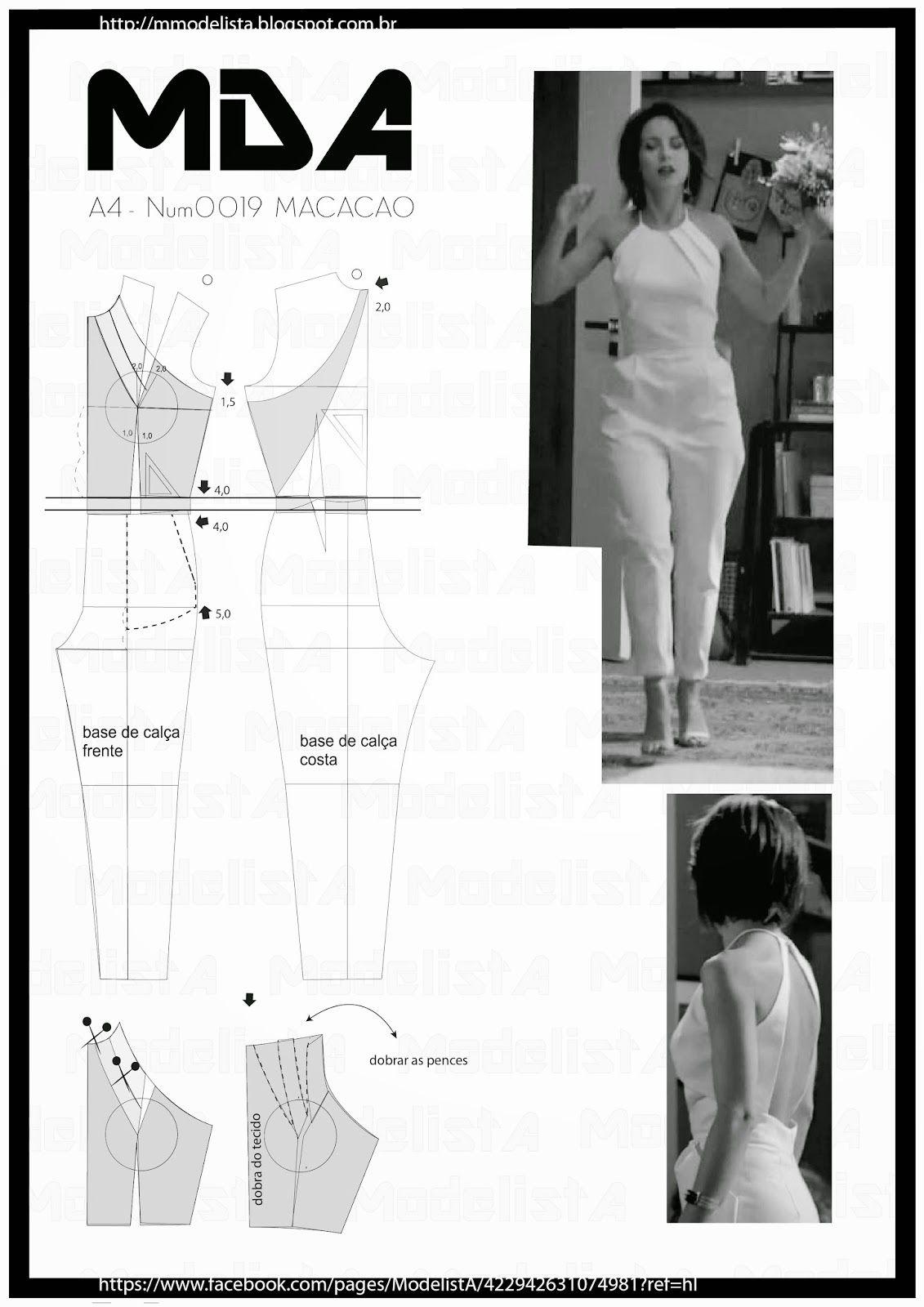 A4 - NUM 0019 - MACACÃO   Molde, Costura y Patrones