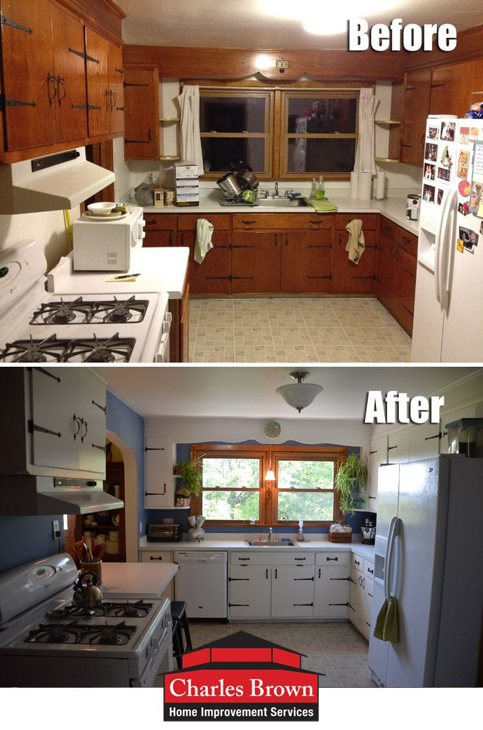 Charmant Kitchen Redesign Pic #2   Itu0027s Amazing How A Little Paint U0026 New Lighting  Can Transform A Room! The Old Kitchen Was Pretty Campy With Knotty Pine  Cabinets ...