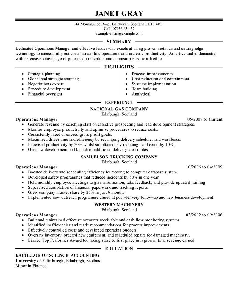 Operations Manager Management Executive  Building Manager Resume