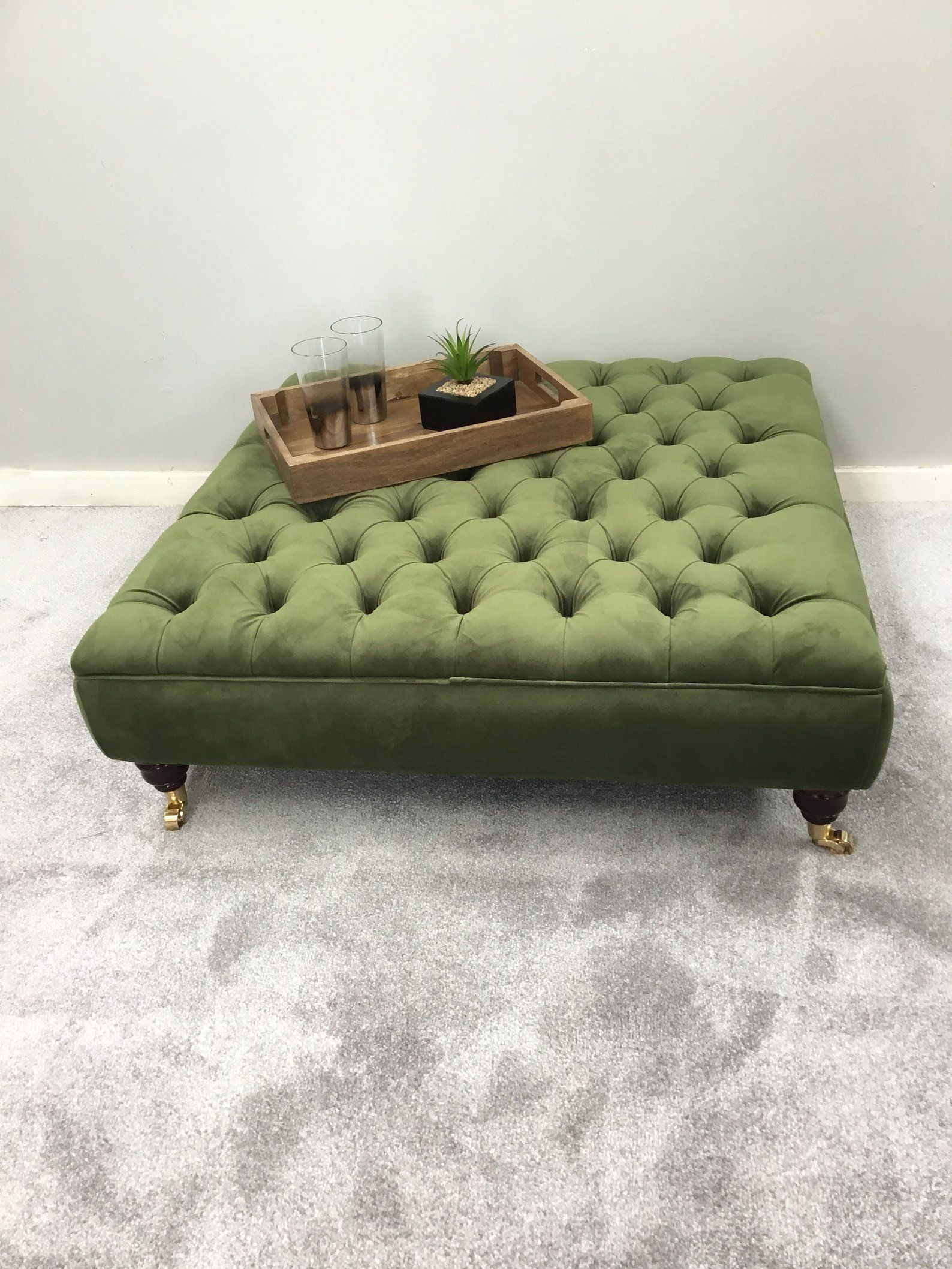 Extra Large Vine Green Footstool Coffee Table Ottoman