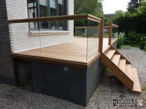 Terrasse bois en hauteur avec garde corps et escalier   le kiosque ...
