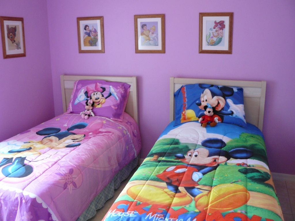 Sweet Purple Kids Room Design With Mickey Mouse Pattern Bedding
