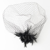 Black cage veil with feather/flower facinator