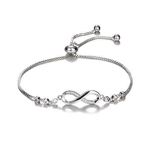 Beautiful Infinity Bracelet For Women An infinity bracelet symbol is sprinkled with round cubic zirconia and embraced by a single dainty chain on both sides in this remarkable bracelet for her. Newest style with a spring-ring adjustable clasp. Perfect to stack or just on its own. Bracelet Information .Length 24 cm Adjustable.Spring Ring Closure.AAA+ Cubic Zirconia on Infinity Charm.18k Gold Plated White Gold or Gold.Imported.100% Satisfaction Guarantee Refund Policy.Gift Box Included