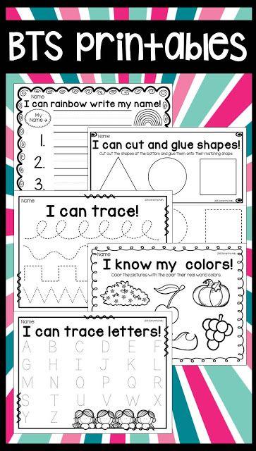 Simple printables for the first week of school! | Dk ...
