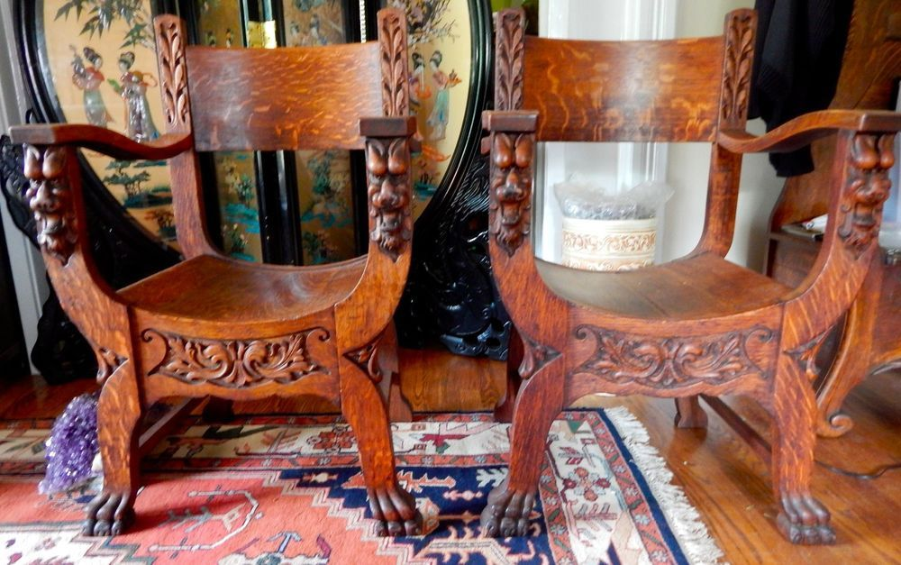 Antique Hand Carved Tiger Oak Lion Head Paw Foot Saddle Chairs Matched Pair