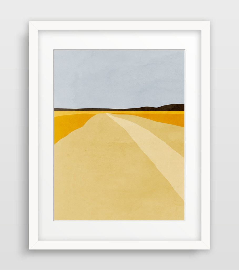 Minimal and modern abstract landscape wall art of a harvest field ...