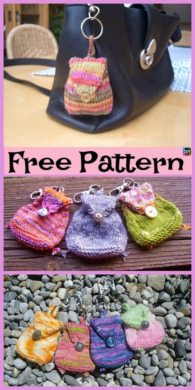 Adorable Knit Mini Bag - Free Pattern #amigurumifreepattern