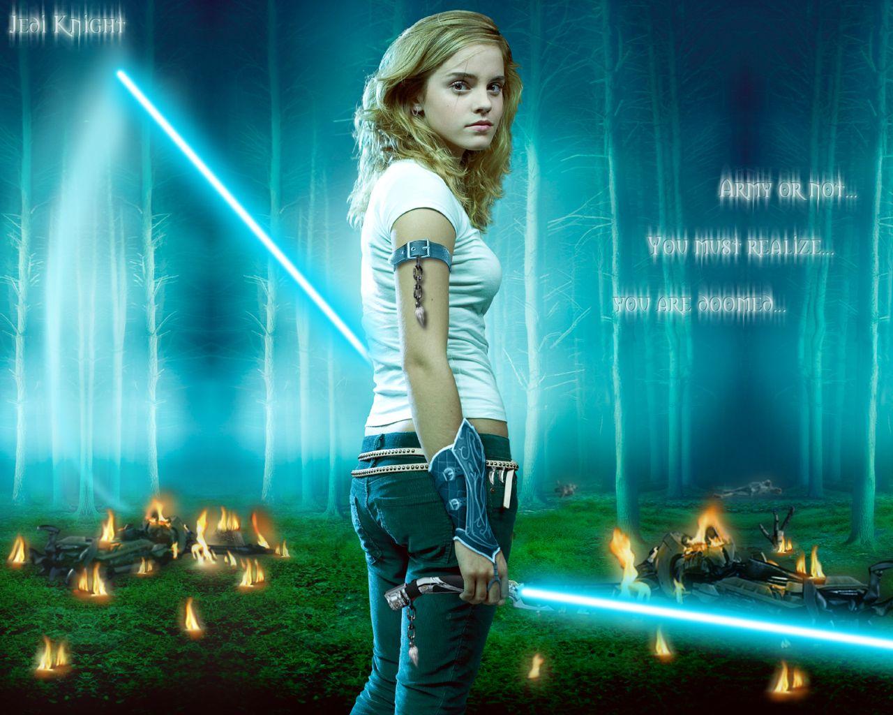 Emma Watson Jedi Knight By Rhanubis On Deviantart Emma Watson Jedi Knight Emma Watson Wallpaper