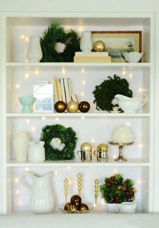 Pin On Christmas Bookcase Decor Ideas