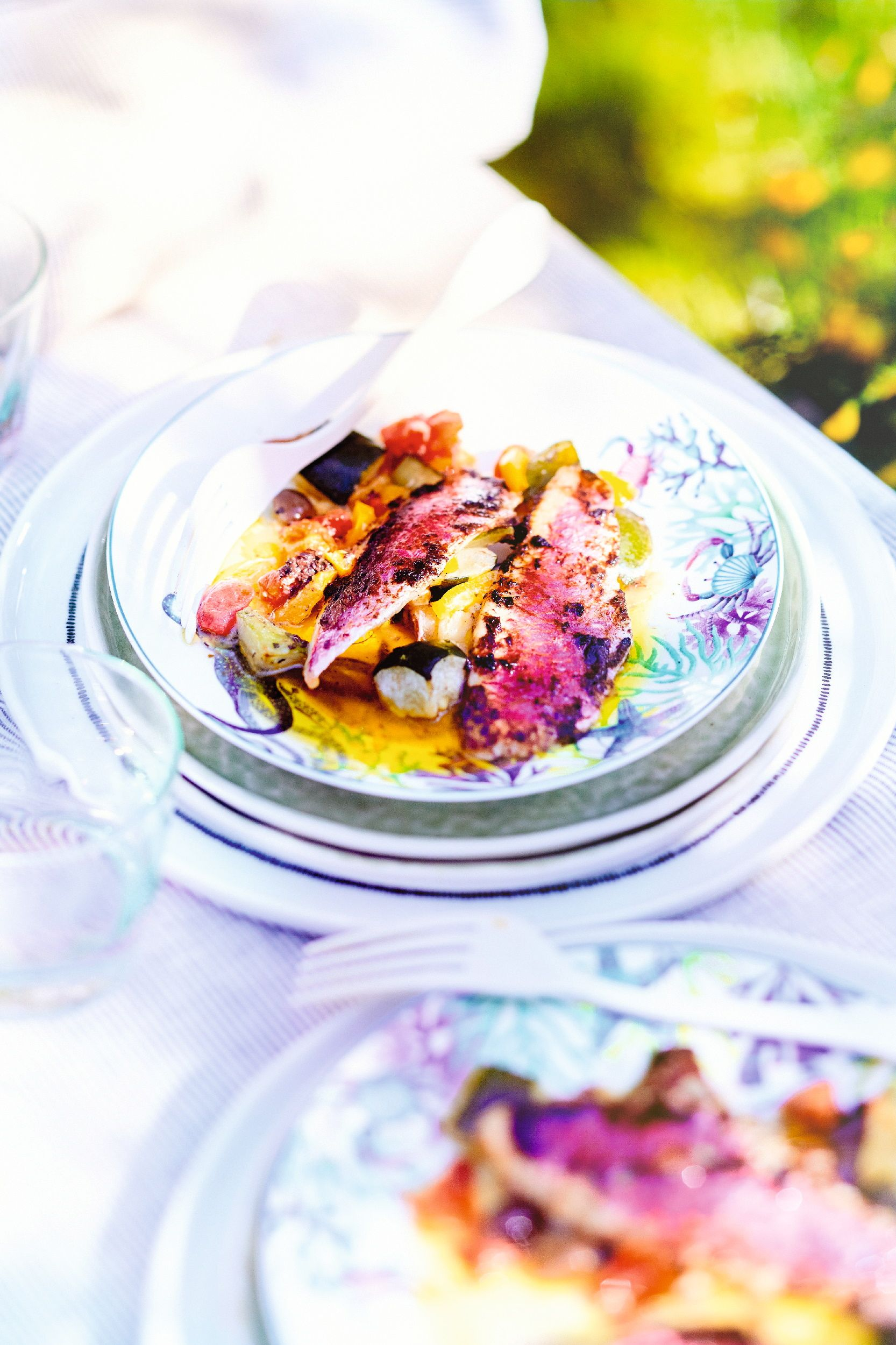 recette rouget à la tapenade et poêlée de légumes bio - recettes les