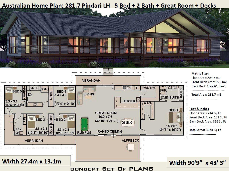 Acreage 5 Bedroom house plan 281.7 Pindari 281 m2 3024